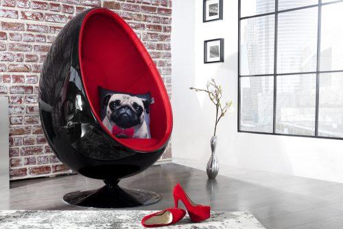 Fotel obrotowy w stylu lounge Space EGG Black & Red