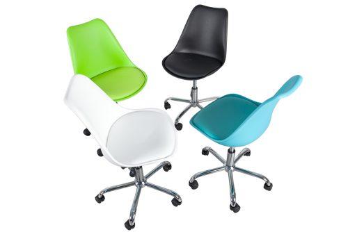 Krzesło tapicerowane obrotowe w stylu retro Scandinavia White