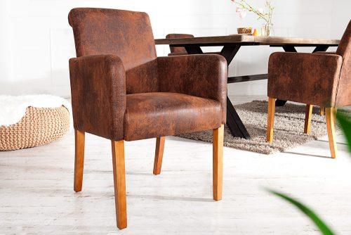 Krzesło CASA z podłokietnikiem brąz
