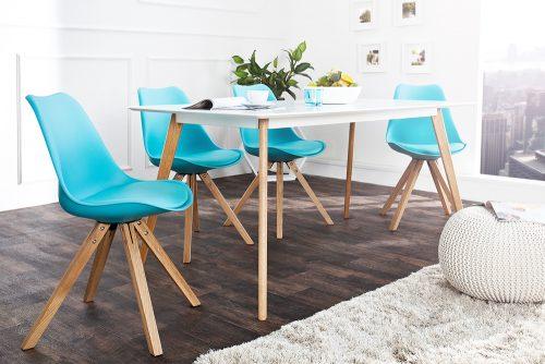 Krzesło Scandinavia Turquoise tapicerowane w stylu retro