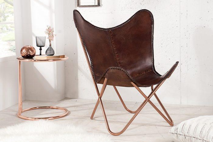 Krzesło ze skóry Butterfly Brown