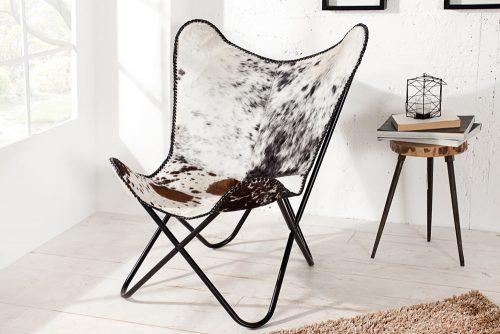 Krzesło Butterfly White & Brown skóra