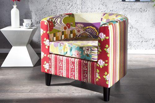 Fotel z obiciem w stylu patchwork Ibiza Patchwork