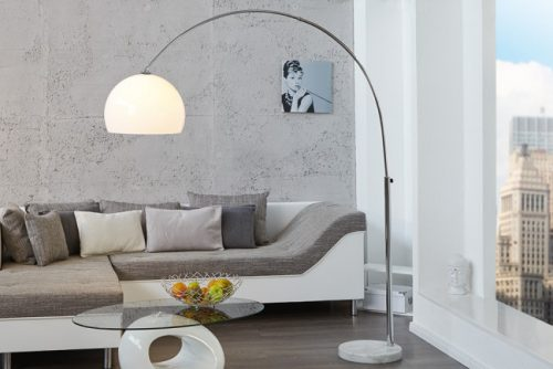 Nowoczesna lama podłogowa Lounge Deal 175-205 biała