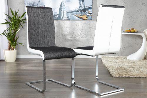 Stylowe krzesło na płozach Metropolis Anthracite White
