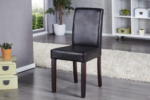 Krzesło tapicerowane z obiciem z eko skóry Genua Dark Brown