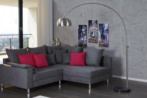 Chromowana lampa podłogowa Lounge Deal stal szczotkowana