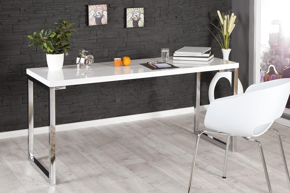 nowoczesne biurko wysoki po ysk lakierowana sklejka chrom white desk 160 cm cena sklep. Black Bedroom Furniture Sets. Home Design Ideas