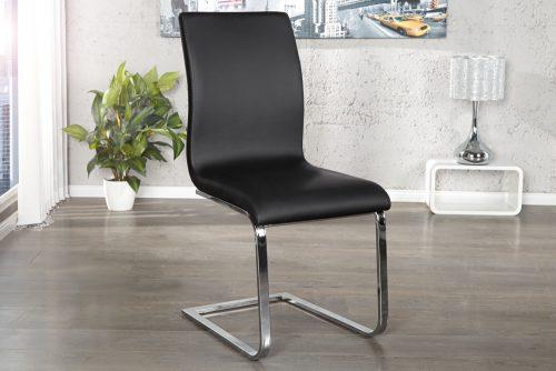 Krzesło tapicerowane na płozach z obiciem z eko skóry Hampton Black