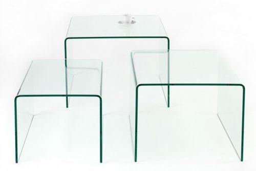 Designerski zestaw 3 szklanych stolików kawowych FANTOME
