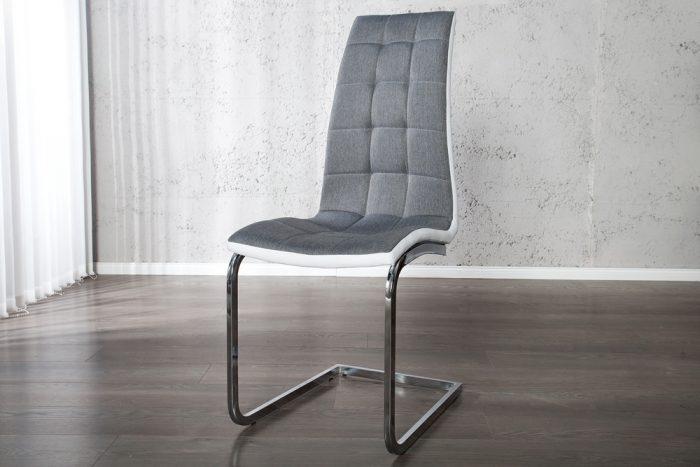 Krzesło London  biało szare na płozach