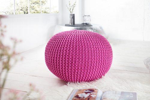 Nowoczesna pufa dzianinowa Leeds Pink 50 cm