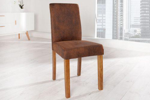 Kolonialne krzesło tapicerowane z obiciem z eko skóry Genua Coffee