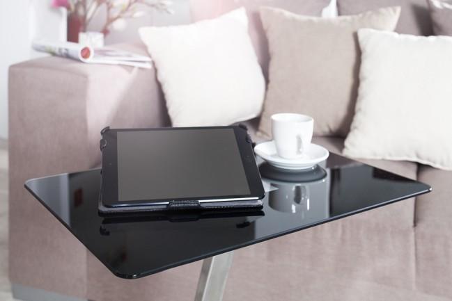Nowoczesny Stolik Pod Laptopa Tablet Czarny Szkło Metal Butler