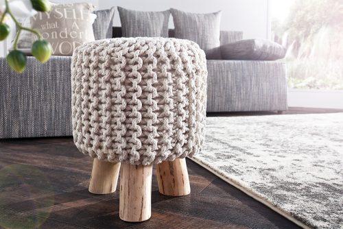 Stołek ręcznie wykonany Leeds White 45 cm