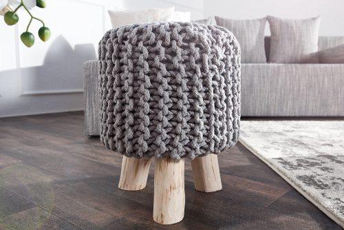 Stołek wykonany ręcznie Leeds Gray 45 cm