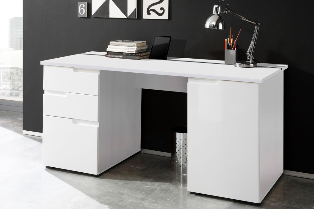 nowoczesne biurko z wyko czeniem na wysoki po ysk bia e lakierowany mdf spice 160 cm cena. Black Bedroom Furniture Sets. Home Design Ideas