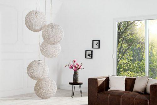 Stylowa lampa wisząca Cocoon Pearls biała