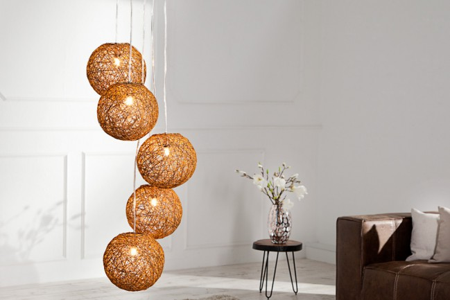 Stylowa lampa wisząca Cocoon Pearls kawa