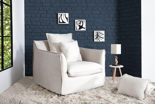 Elegancki fotel tapicerowany Heaven White