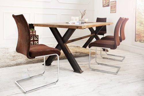 Krzesło na płozach w stylu rustykalnym Suave Antique Coffee