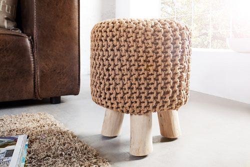 Ręcznie wykonany stołek Leeds Coffee 45 cm