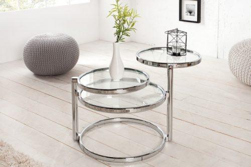 Nowoczesny stolik do salonu Art Deco 3 srebrny