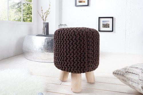 Nowoczesny ręcznie wykonany stołek Leeds Dark Coffee 45 cm