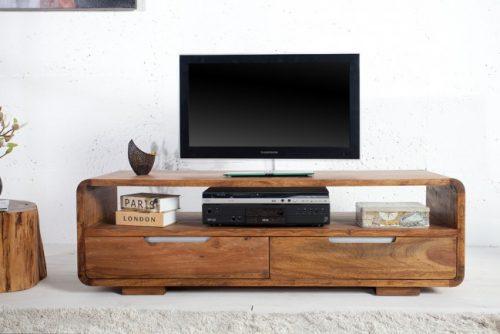 Drewniany woskowany stolik pod TV Cube 130 cm