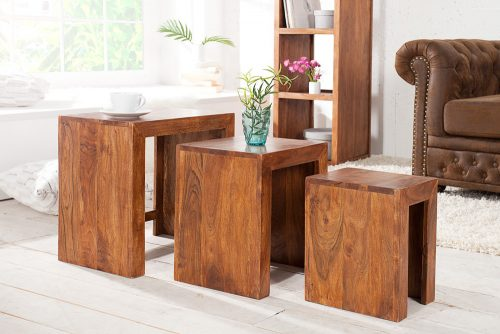 Zestaw 3 stolików MONSOON FULL z litego drewna akacji