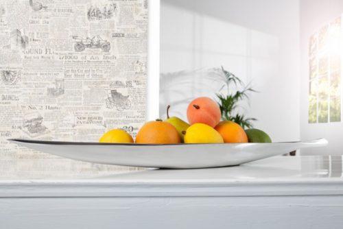 Nowoczesna misa na owoce do salonu Silver Leaf 60 cm