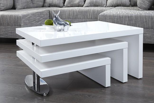 Nowczesny bia y chromowany stolik do salonu mdf drewno for Design couchtisch fabric