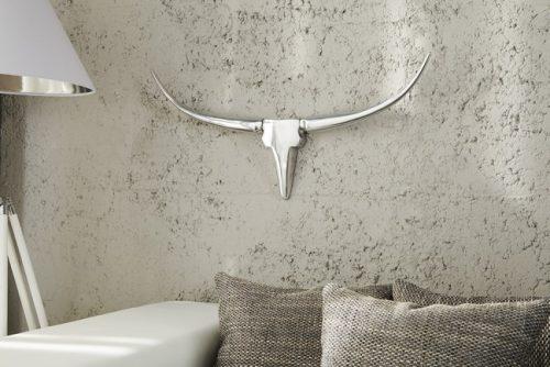 Srebrne poroże BULL na ścianę do salonu 75cm