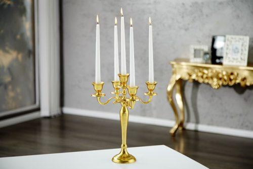 Złoty świecznik pięcioramienny Alu Deco 40 cm