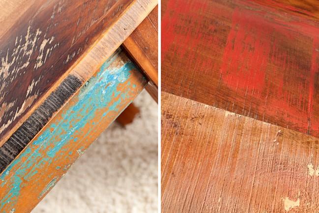 Stół Z Drewna Z Recyklingu Starych Indonezyjskich łodzi Rybackich