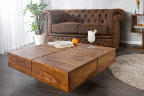 Masywny stolik kawowy Bolt drewno Sheesham 80 cm