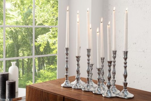 Stylowy chromowany świecznik na 10 świeczek