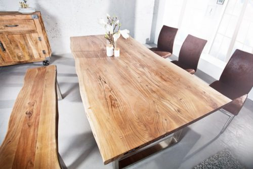 Stół do salonu z naturalnym blatem Mammut 160 cm