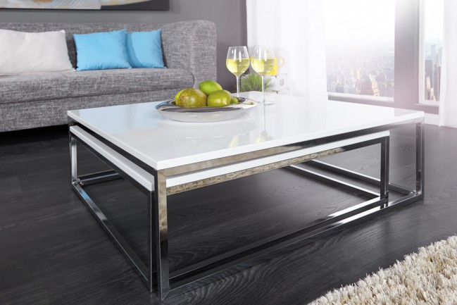 Nowoczesne bia e stoliki mdf chrom big fusion cena for Design couchtisch big fusion