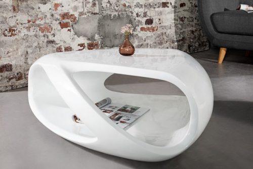 Stolik kawowy Organic Living 80 cm biały lakier nowoczesny