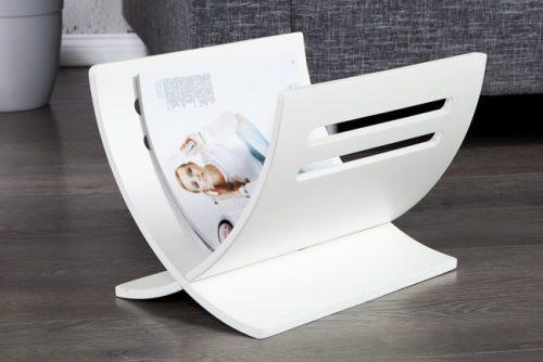 Biały drewniany stojak na gazety - News 2