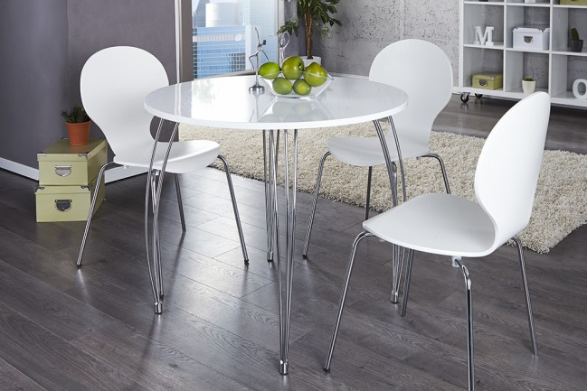 Stół ARRONDI 90cm biały chrom okrągły