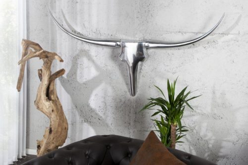 Nowoczesne aluminiowe poroże na ścianę Bull 120 cm