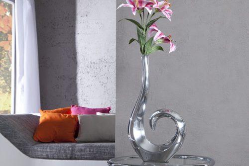 Nowoczesny wazon aluminiowy srebrny WAVE 50 cm