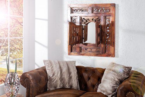 Orientalne lustro ścienne z kwadratową ramą Secret 70 cm