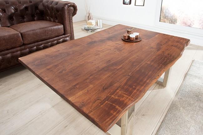 Brązowy Drewniany Stół Do Salonu Masywny Mammut 120cm Cena