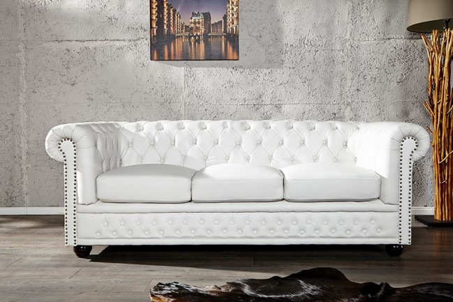 Nowoczesna biała kanapa do salonu Sofa Chesterfield