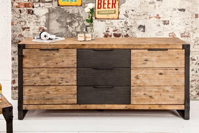 komoda FACTORY 180cm retro industrialna drewno