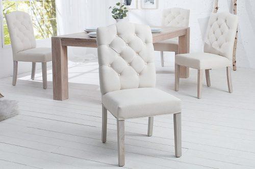 Eleganckie krzesło CASTLE beżowe z pikowaniem Chesterfield
