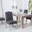 Eleganckie krzesło CASTLE szare z pikowaniem Chesterfield